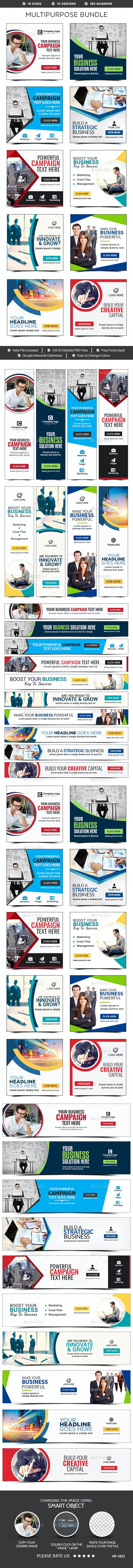 Multipurpose Banners Bundle - 10 Sets - 180 Banners - Banners & Ads Web Elements