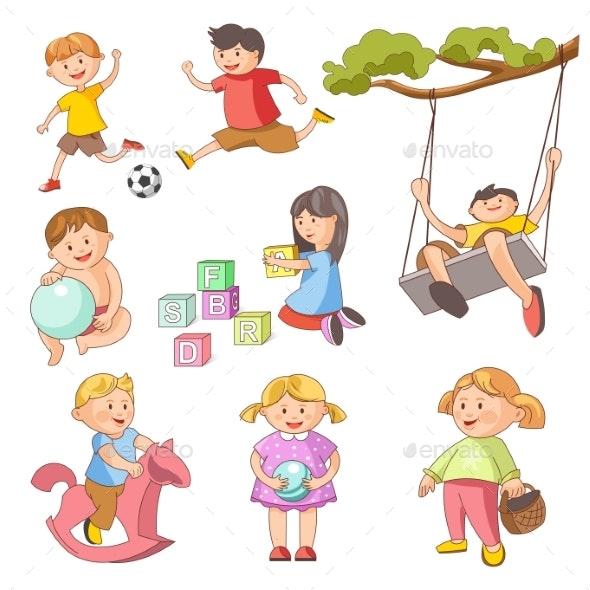 Children Little Boys Girls Playing Outdoor Games