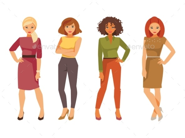 Fashion Women in Office Clothes - People Characters