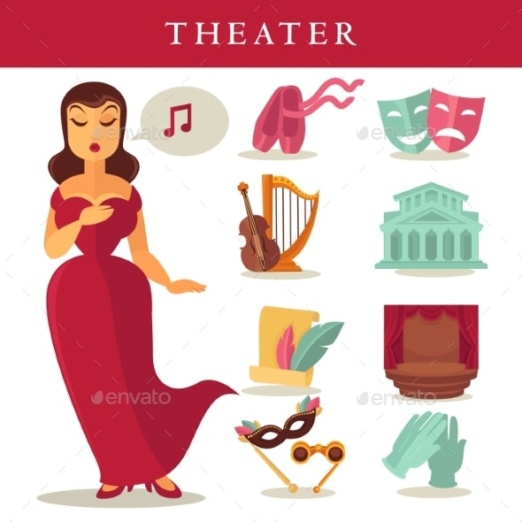 Theater or Opera Vector Flat Icons Singer, Ballet - Backgrounds Decorative