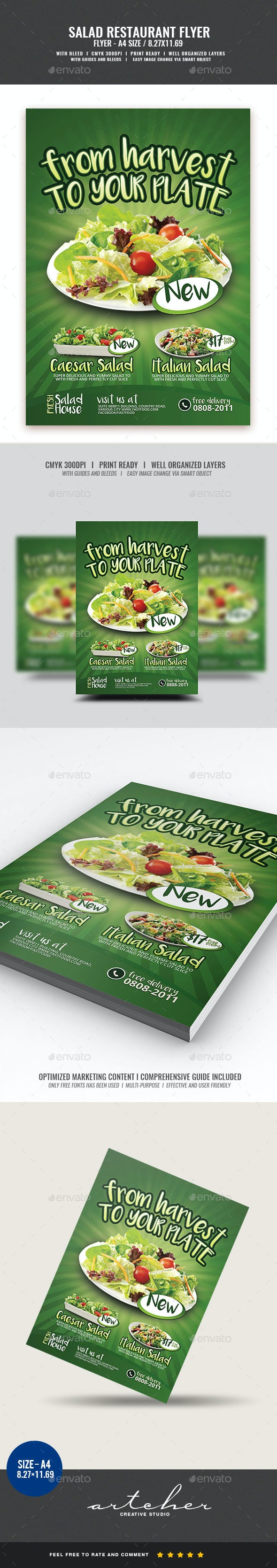 Salad Restaurant Flyer - Restaurant Flyers