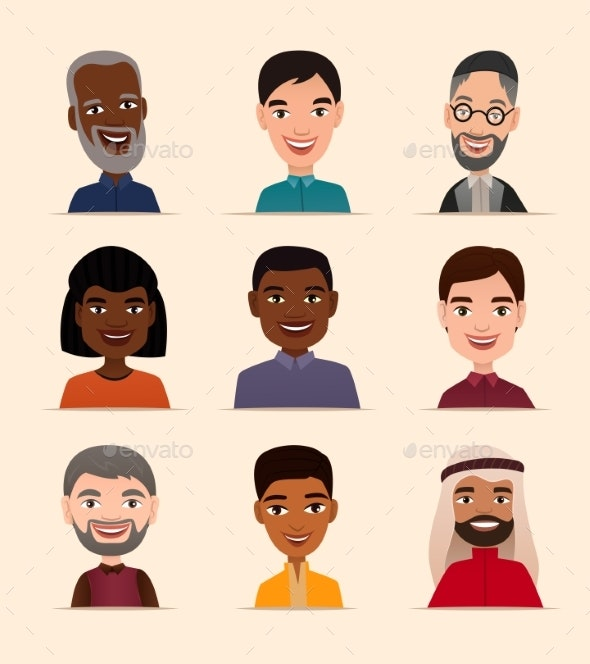 Happy People Avatar Icon Set - People Characters