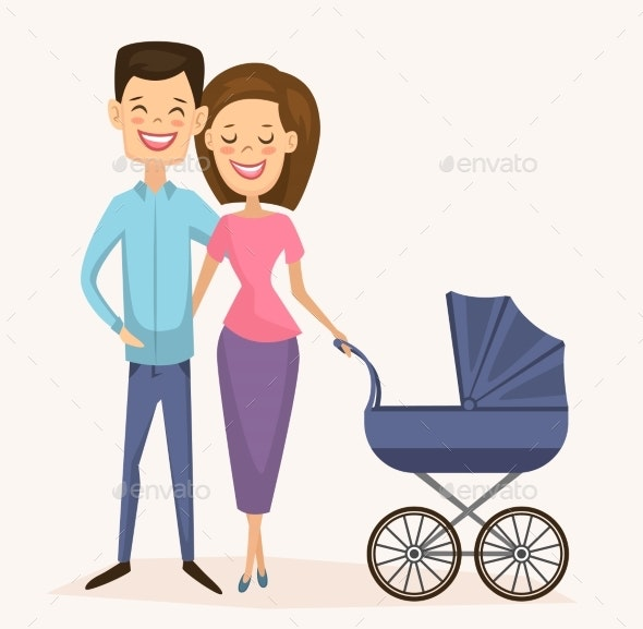 Happy Young Family Couple with Baby Carriage - People Characters