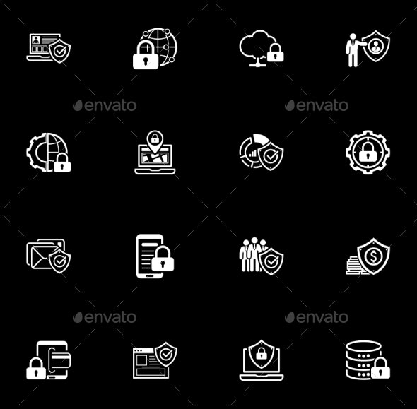Flat Design Protection and Security Icons Set. - Technology Icons