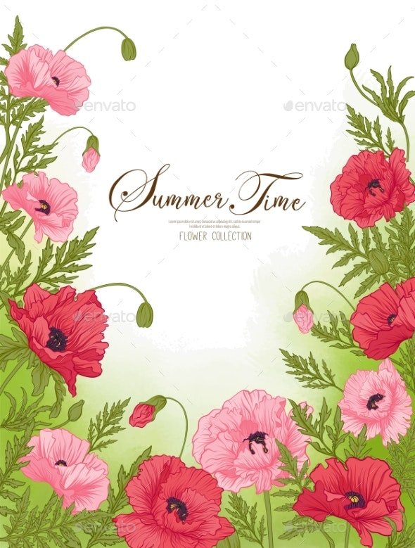 Summer Time Card with Red and Pink Poppy on Green - Flowers & Plants Nature