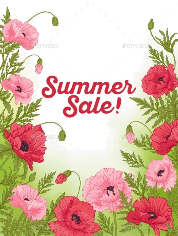 Summer Sale Card with Red and Pink Poppy on Green - Flowers & Plants Nature