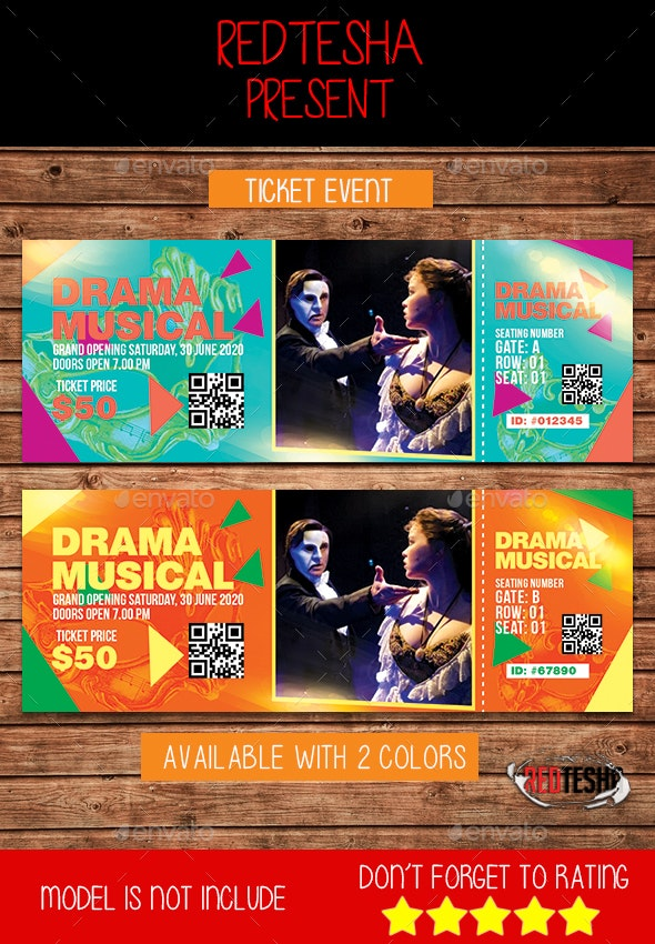 Ticket Event - Cards & Invites Print Templates