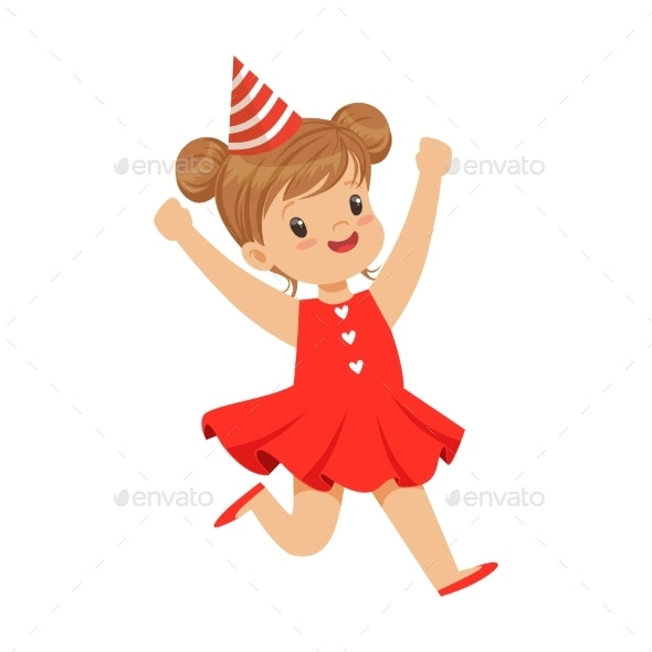 Happy Smiling Baby Girl Wearing a Red Dress - Seasons/Holidays Conceptual