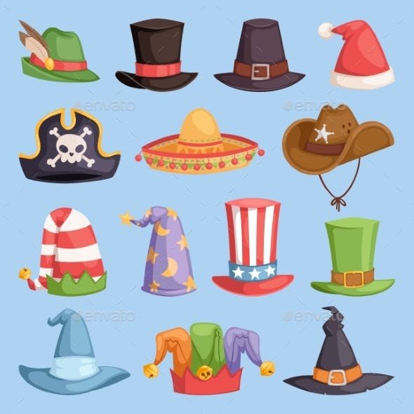 Different Funny Hats for Party and Holidays