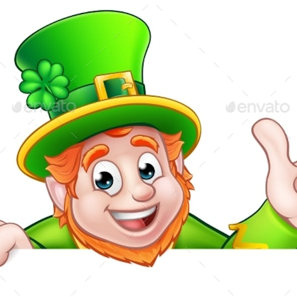 Cartoon St Patricks Day Leprechaun Top of Sign