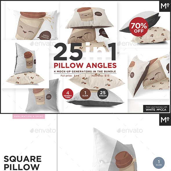 25 in 1 Pillow Angles Mock-up Bundle