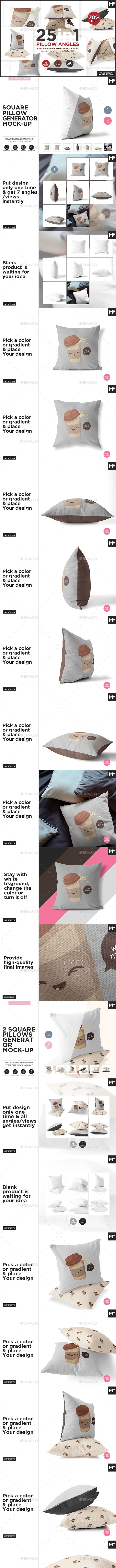 25 in 1 Pillow Angles Mock-up Bundle - Miscellaneous Print