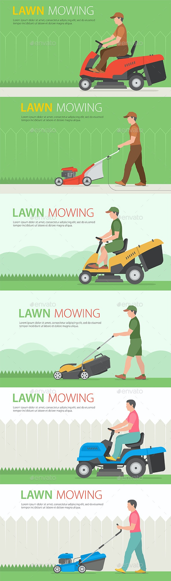 Man Mowing Lawn - Miscellaneous Vectors