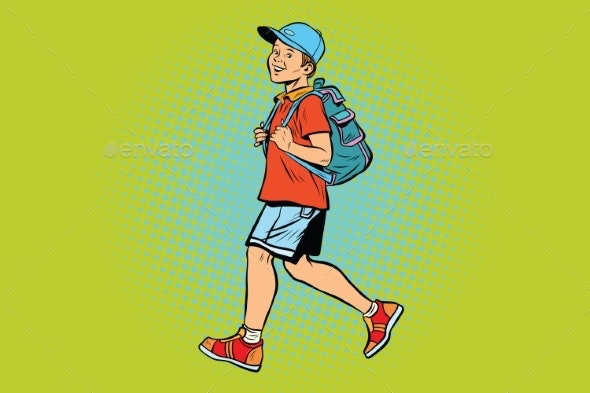 Boy Student with a Backpack Goes To School - People Characters