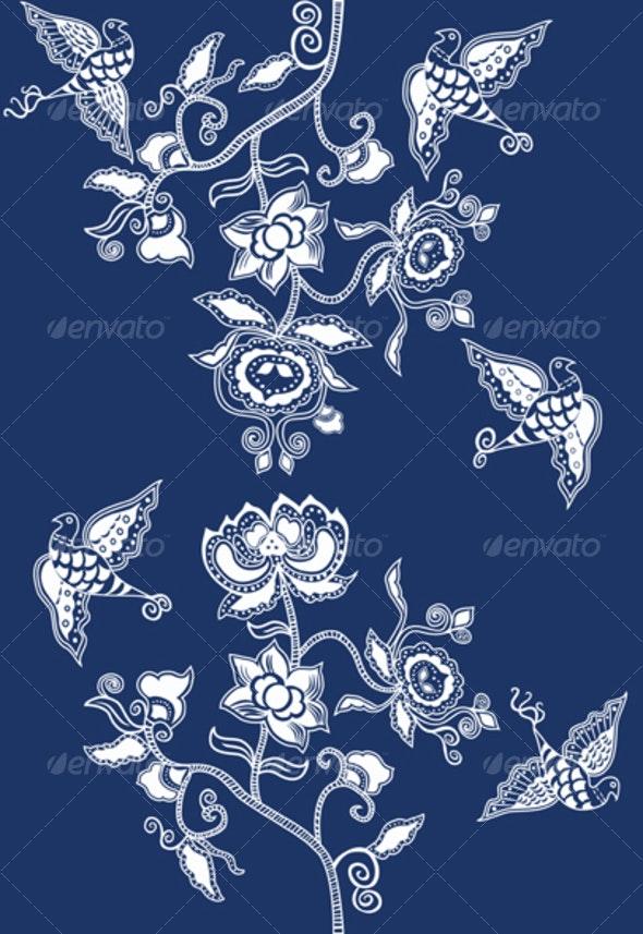 Chinese Indigo Pattern - Patterns Decorative