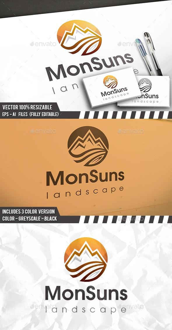 Mountain Sun Logo - Vector Abstract
