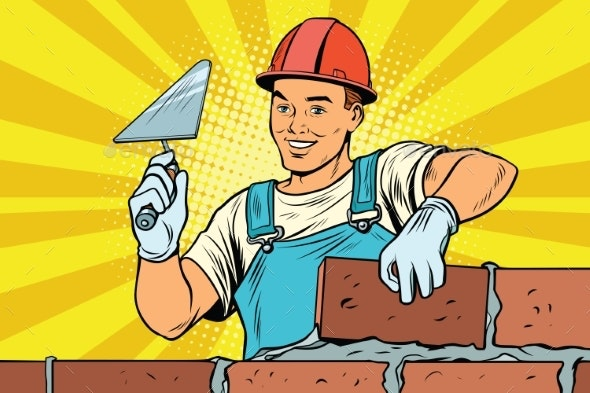 Builder Brickwork Construction and Repair - People Characters