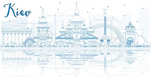 Outline Kiev Skyline with Blue Buildings - Buildings Objects
