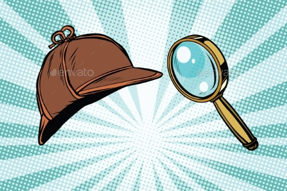 Detective Hat and Magnifying Glass - Man-made Objects Objects