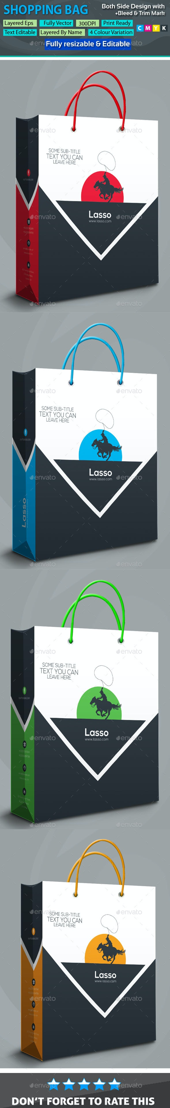 Lasso Shopping Bag - Packaging Print Templates