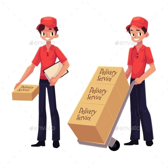 Courier, Delivery Service Worker Holding Package - People Characters