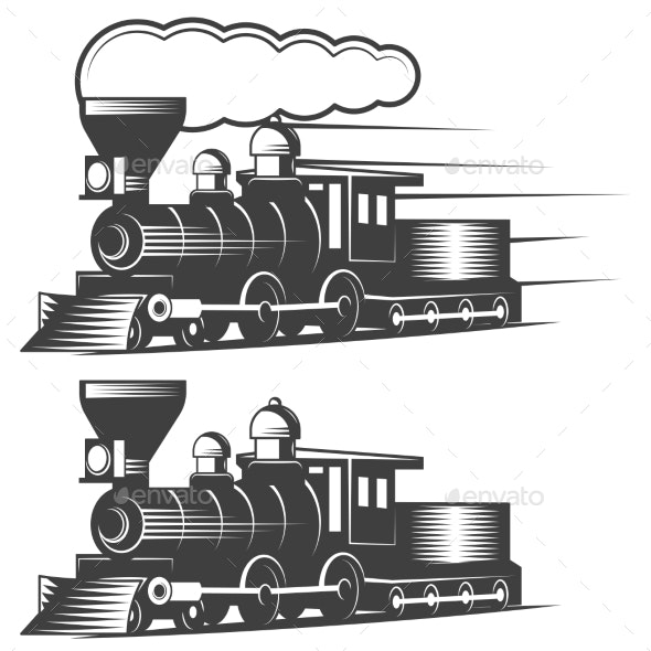 Locomotive Vector Illustration in Monochrome - Miscellaneous Vectors