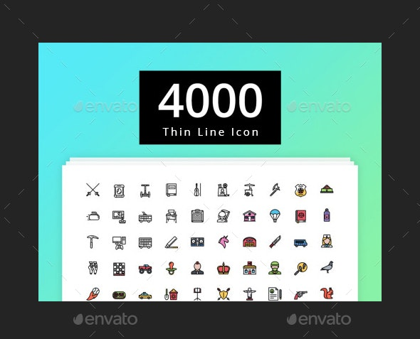 4000 Thin Line Icon - 2 Style - Icons