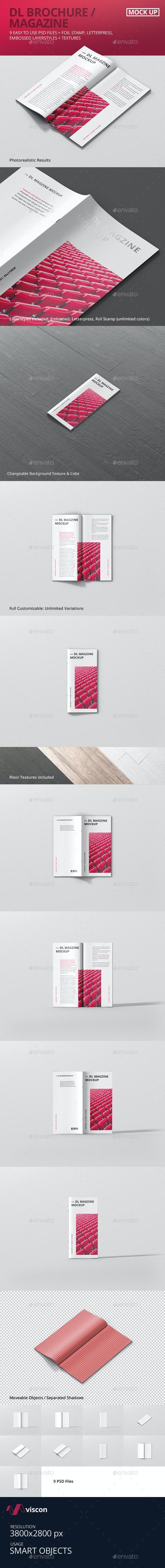 DL Brochure / Magazine Mockup - Magazines Print