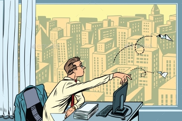 Boredom at Work Businessman Throwing Paper - Concepts Business