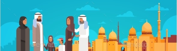 Arab Family Over Muslim Cityscape Nabawi Mosque - Religion Conceptual