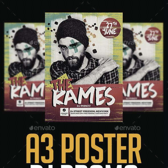 A3 Dj Poster Art Template