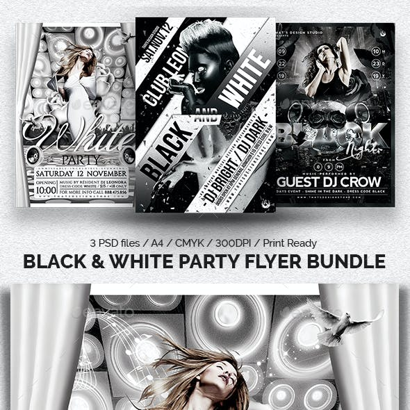 Black and White Party Flyer Bundle