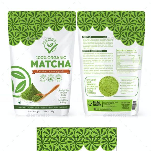 Matcha Tea Powder Packaging Template