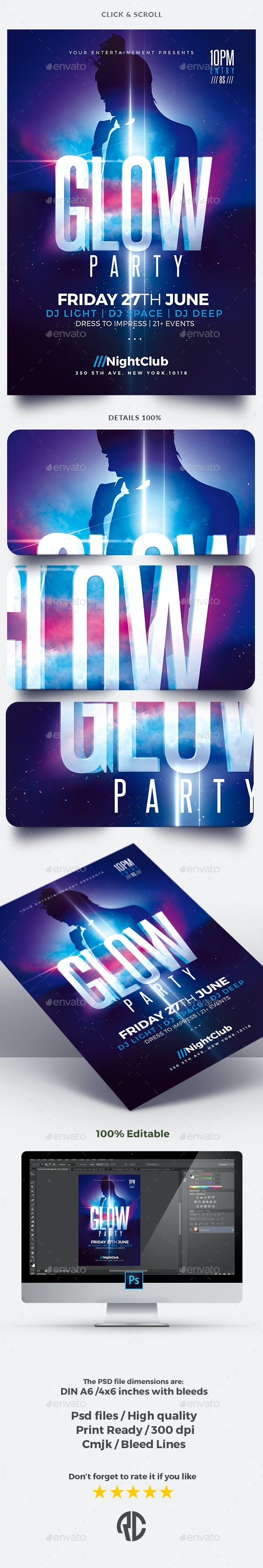 Glow Party | Psd Flyer Template - Clubs & Parties Events