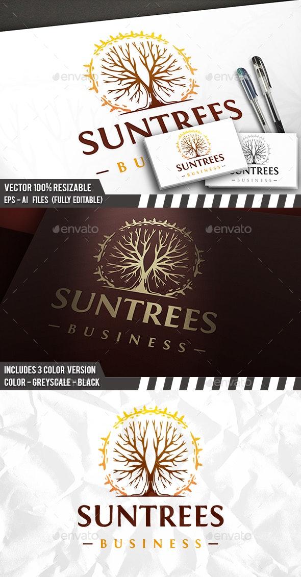 Grunge Tree Sun Logo - Vector Abstract