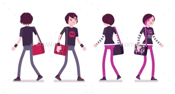 Emo Boy and Girl in Walking Pose - People Characters