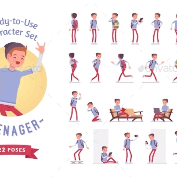 Ready-to-use Teenager Boy Character Set, Various