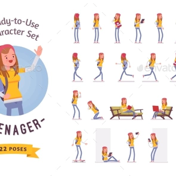 Ready-to-use Teenager Girl Character Set, Various