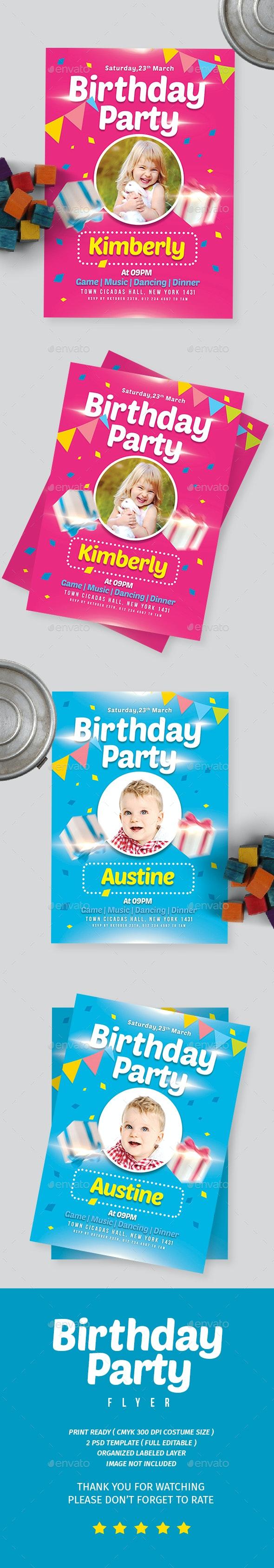 Kids Birthday Party Invitation - Flyers Print Templates