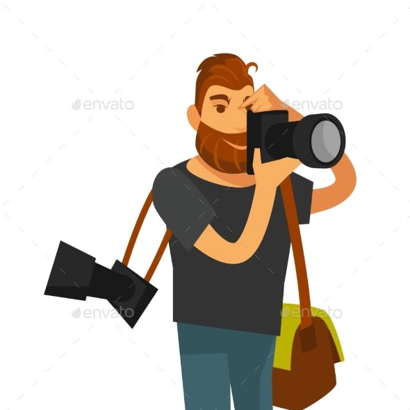Man Takes Photo By Camera Near Eye Isolated