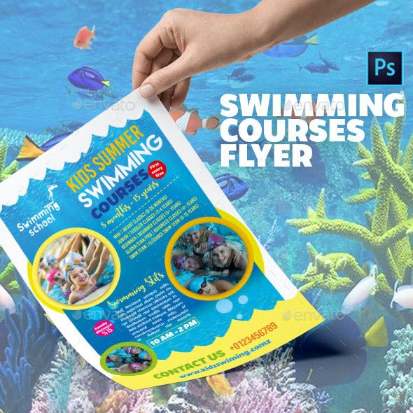 Swimming Course Flyer Template
