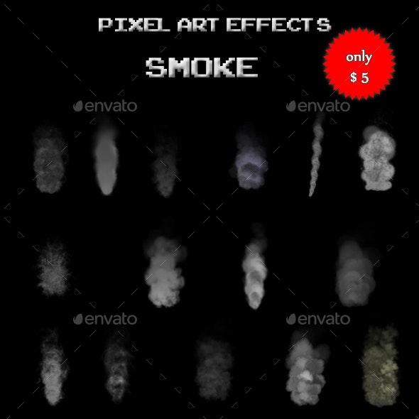 Pixel Art Effects Smoke - Sprites Game Assets