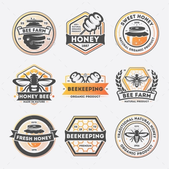 Sweet Honey Vintage Isolated Label Set - Food Objects