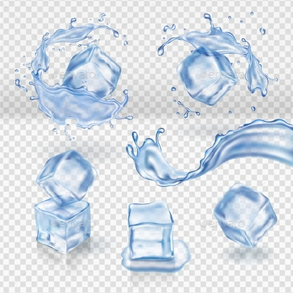 Transparent Vector Water Splash and Ice Cubes - Food Objects