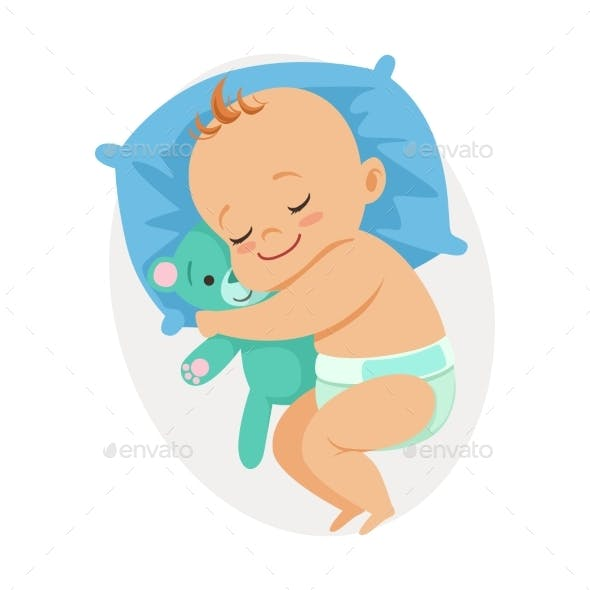 Baby Sleeping in His Bed and Hugging Bear