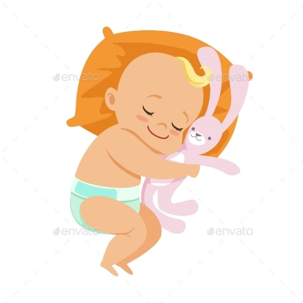 Baby in a Diaper Sleeping with Soft Toy