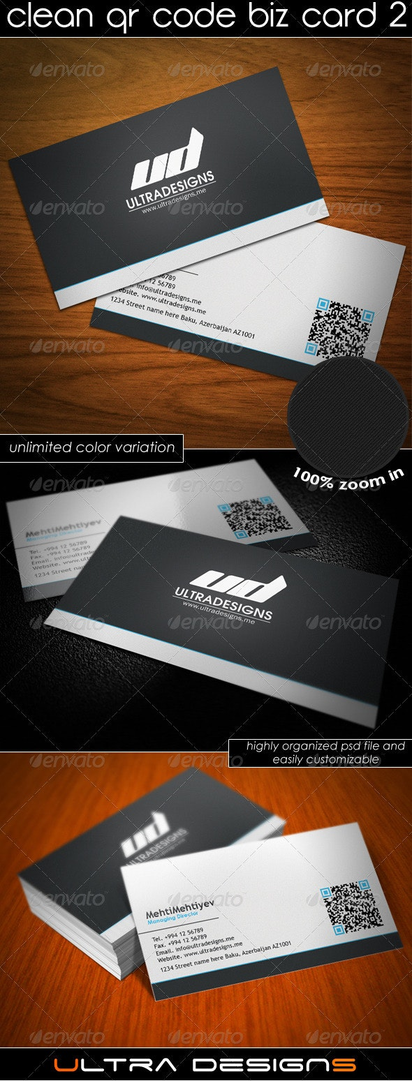 Clean QR Code Business Card 3 - Corporate Business Cards