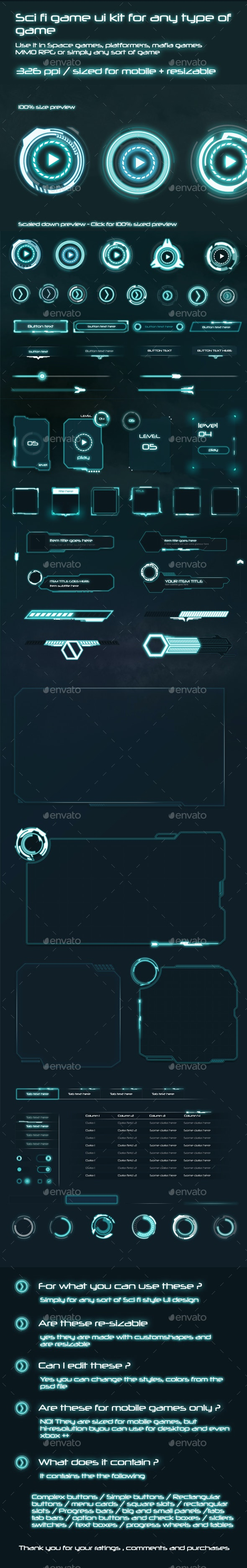 Sci-Fi UI Components Pack - User Interfaces Game Assets