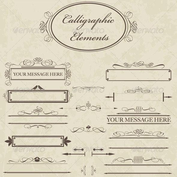 Calligraphic Elements - Decorative Symbols Decorative