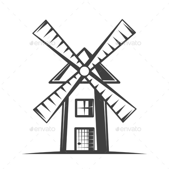 Vintage Windmill Vector Illustration - Miscellaneous Vectors